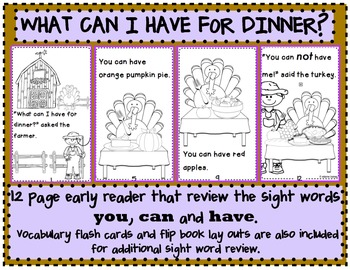 What Can I Have For Dinner?/Thanksgiving  Reader/ Color and Sight Word Review