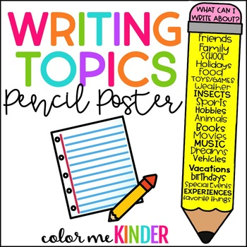 What Can I Write About? Writing Topics Reference Pencil Poster