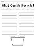What Can We Recycle? Worksheet