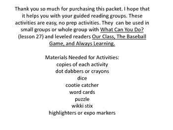 What Can You Do Guided Reading Activites (Journeys Unit 6)