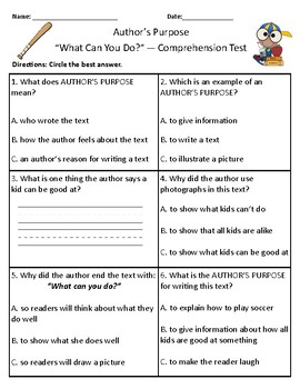 What Can You Do? - Vocabulary & Comprehension Test/Quiz (Journeys)