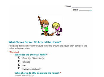 What Chores Do You Do Around the House? Assessment