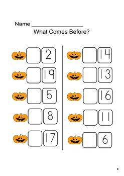 What Come Next /Before 1-20 Pumpkins