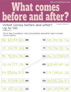 What Comes Before and After, up to 100?