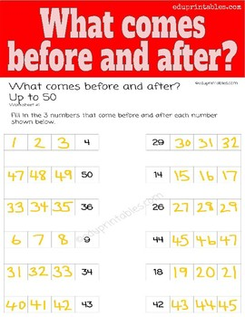 What Comes Before and After, up to 50?