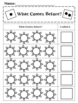 What Comes Next?  Before and After Spring Dice Game