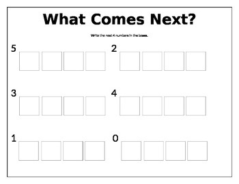"""""""What Comes Next?"""" Number Sequence Activity Sheet"""