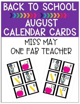 August Back to School Calendar Cards