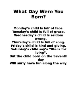What Day were You Born? Determine the Weekday for a Given date