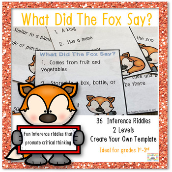 What Did The Fox Say? - Making Inferences Riddle Task Cards #springintosavings