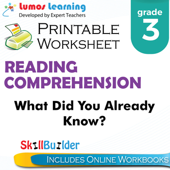 What Did You Already Know? Printable Worksheet, Grade 3
