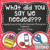 What Did You Say We Needed? Classroom Supply Cards for the Board