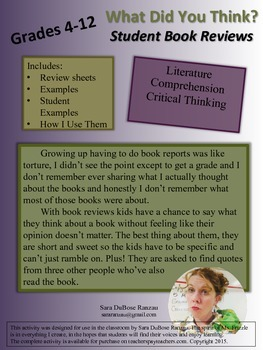 What Did You Think? Student Book Review Forms