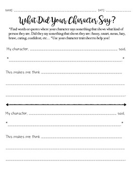 What Did Your Character Say? Worksheet - Character Traits