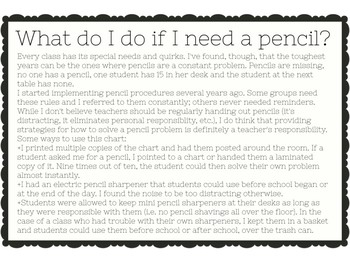 What Do I Do If I Need a Pencil? (Solving Pencil Problems in the Classroom)