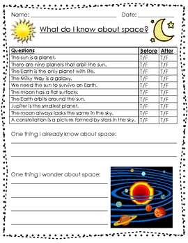 What Do I Know About Space? (Anticipation Guide Freebie)