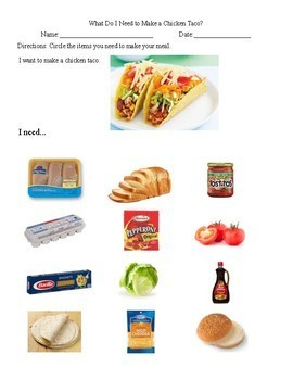 What Do I Need To Make Food Items (life skills/special education)