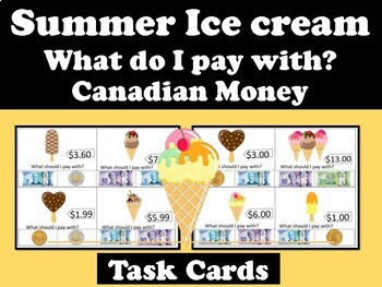 Ice Cream -What Do I Pay With? Task Cards Canadian Money