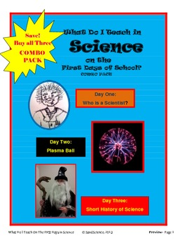 What Do I Teach On The First Days of School in Science: COMBO PACK