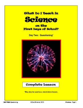 What Do I Teach on the First Days of School in Science:  DAY TWO