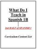 What Do I Teach in Spanish 1B - Curriculum Content List