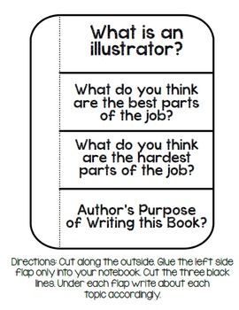 What Do Illustrators Do? Book Study:Organizers and Interactive Notebook Pages