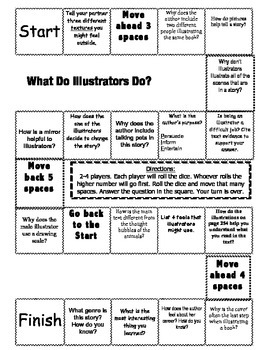 """What Do Illustrators Do?"" Comprehension Game Board- Journeys story 3rd grade"