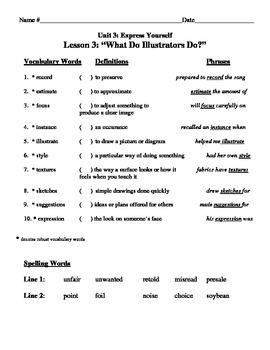 """""""What Do Illustrators Do?"""" Vocabulary List and Test for Treasures"""