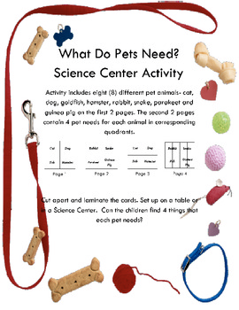 What Do Pets Need? Science Center Activity