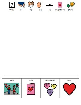 What Do We See on Valentine's Day Worksheet (Boardmaker PDF)