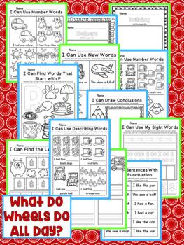 What Do Wheels Do All Day? Kindergarten NO PREP Supplemental Printables