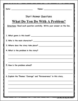 What Do You Do With A Problem?--Read Aloud Activity