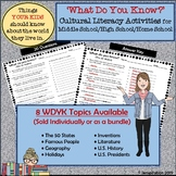 What Do You Know? - 8 Cultural Literacy Activities