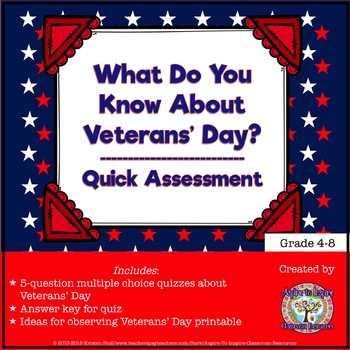 FREEBIE What Do You Know About Veterans' Day?