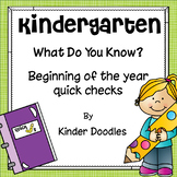 What Do You Know? Beginning of the year kindergarten skill