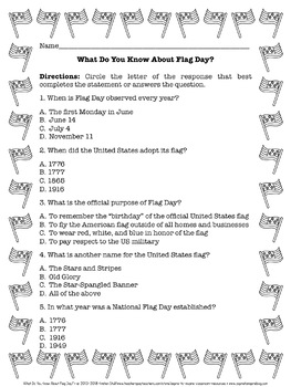 FREEBIE What Do You Know? Memorial Day, Flag Day, and Independence Day