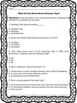 FREEBIE What Do You Know? Veterans' Day, Presidents' Day, and Memorial Day