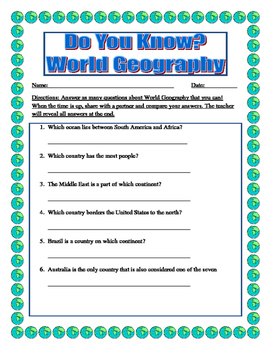 What Do You Know? World Geography (Back to School)