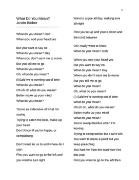 What Do You Mean? Question Forms Song Lyric Study ESL Justin Bieber