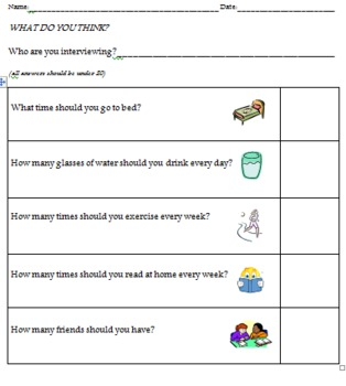 What Do You Think? Partner Interview and Graphing Activity