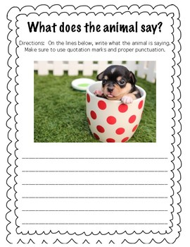 What Does The Animal Say? Dialogue writing practice