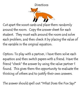 What Does The Fox Say? Equations Scoot