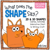 2D and 3D Shapes Activities & Anchor Chart + Digital - What Does the Shape Say?