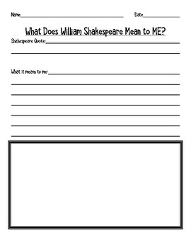 What Does William Shakespeare Mean to Me? (Interpretation)