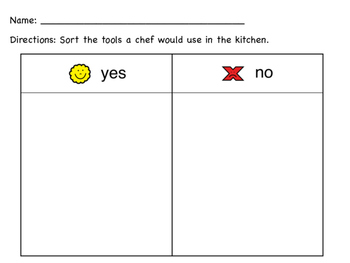 What Does a Chef Use? (Follow Up Activity)