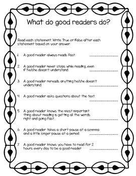 What Does a Good Reader Do While Reading? (Student Questionnaire)