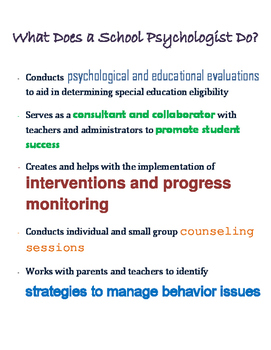 What Does a School Psychologist Do? Poster
