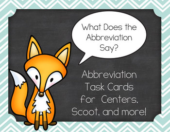 What Does the Abbreviation Say? 20 Task Cards Set