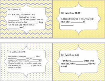 What Does the Bible Say About Loving Others?  Bible Task Cards