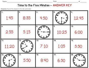 What Does the Clock Say? - A Time to the Five Minutes Scoot Game